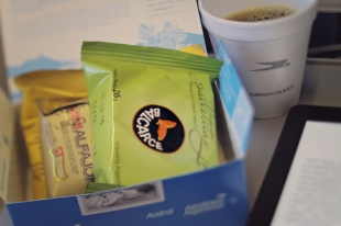 We received one of these yummy boxes on every flight throughout our trip – crackers, typical Argentinian alfajor (like a moon pie, but with caramel in the middle), and a lemon cookie.